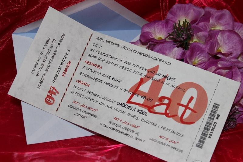 Zaproszenia Urodzinowe Czterdzieste Czterdzieści 40 Lat Bilety Na