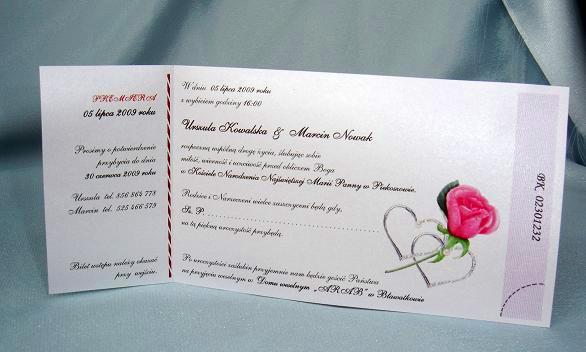 Zaproszenia Zawiadomienia ślubne Bilet Na ślub Zaproszenia ślubne