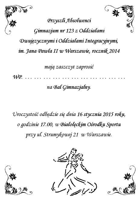 Zaproszenie Na Bal Gimnazjalny Szóstoklasistów Zaproszenia ślubne