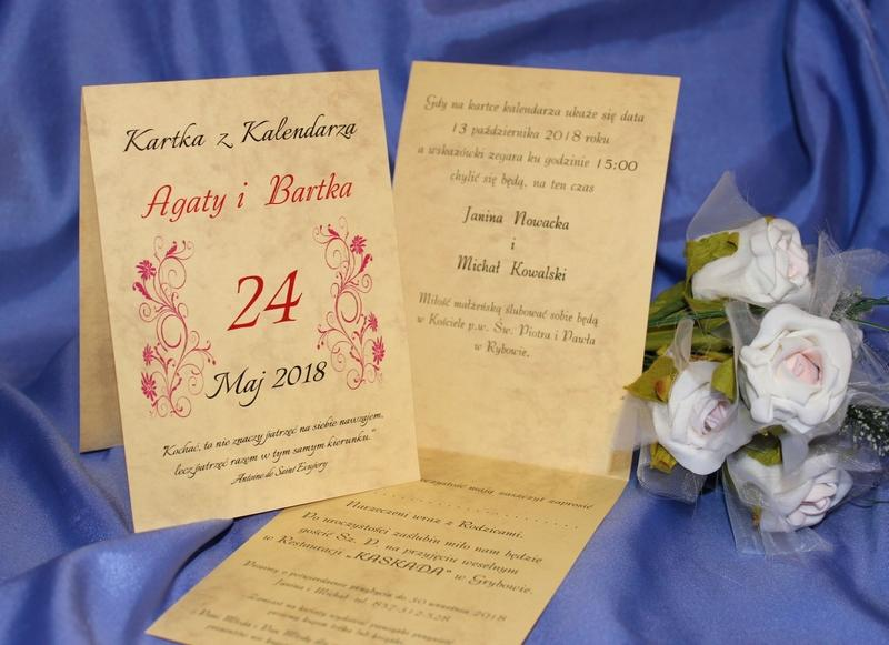 Zaproszenia ślubne Kartka Z Kalendarza Zaproszenia ślubne