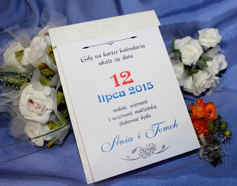 Kartka Z Kalendarza Na ślub Cywilny Zaproszenia ślubne Zaproszenia
