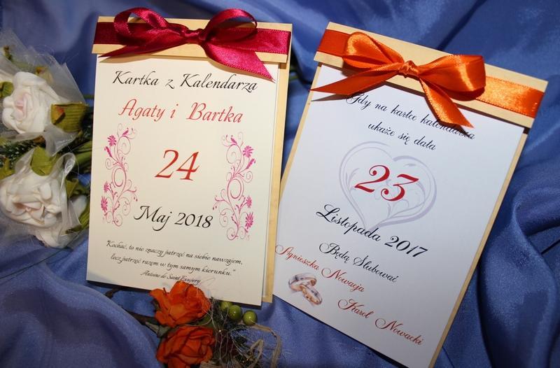 Zaproszenia Na ślubne Kartka Z Kalendarza Kalendarz Eleganckie