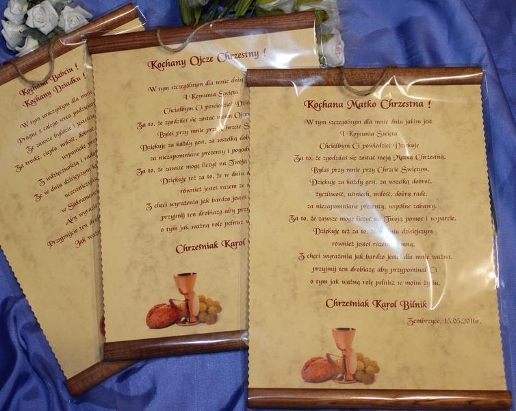 życzenia Dyplom Podziękowania Dla Rodziców Chrzestnych Na I Komunię