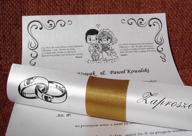 W Mega ZAPROSZENIA ŚLUBNE w Rulonie na Ślub Cywilny z przewiązaniem duże JD95