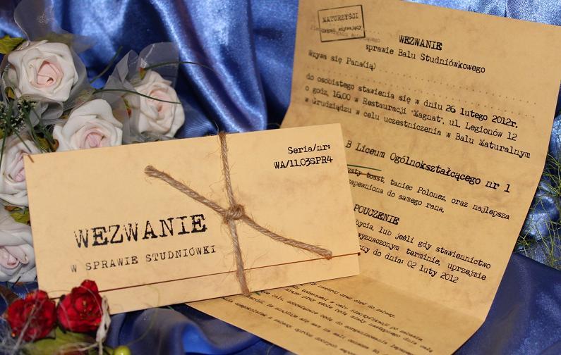 Zaproszenia Na Studniówkę Studniówkowe Gimnazjalne Szóstoklasisty