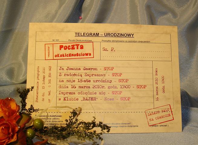 Zaproszenia Urodzinowe 18 Lat Telegram Na Urodziny 20 30 40 50 Lat
