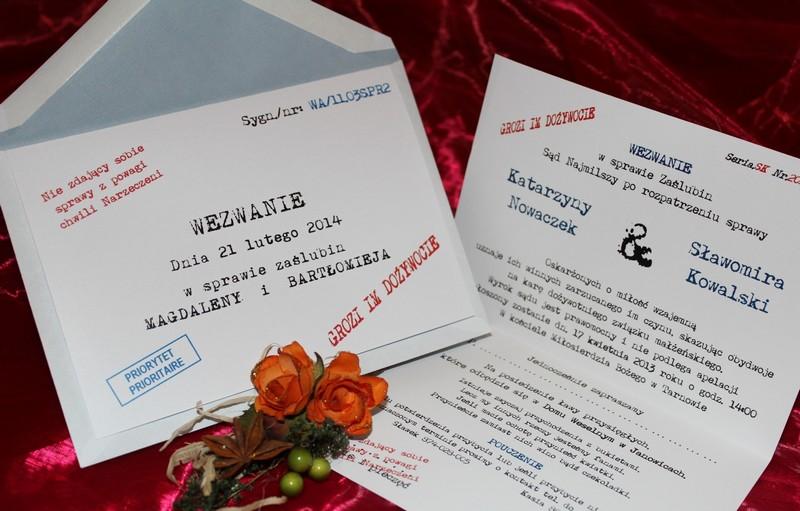 Zaproszenia ślubne Na ślub Cywilny Kościelny Wezwanie Zaproszenia