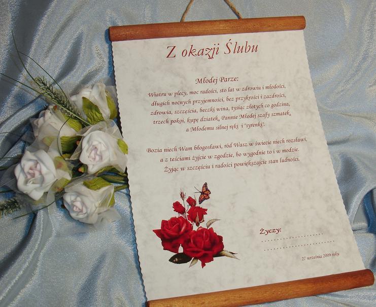 Zaawansowane Życzenia Pamiątka Podziękowania Ślubne dla Rodziców Chrzestnego HU61