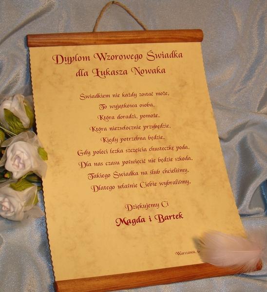 życzenia Podziękowania ślubne Dyplom Dla świadka świadkowej