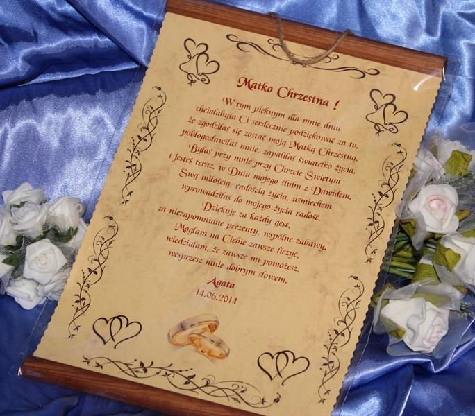 Podziękowanie Na ślub Dla Chrzestnych Rodziców świadków Mamy Taty
