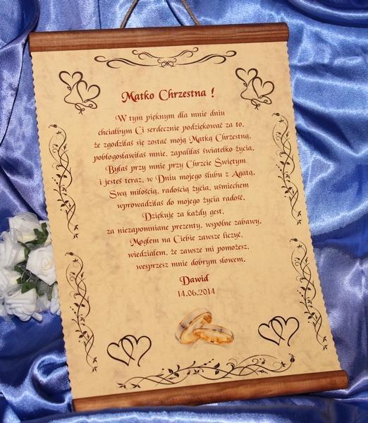 Podziękowanie Na ślub Dla Chrzestnych Rodziców świadków Mamy