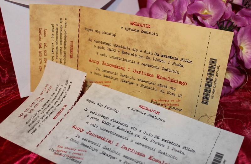 Bilety Zaproszenia ślubne Podziękowania Na ślub I Wesele Dla Gości