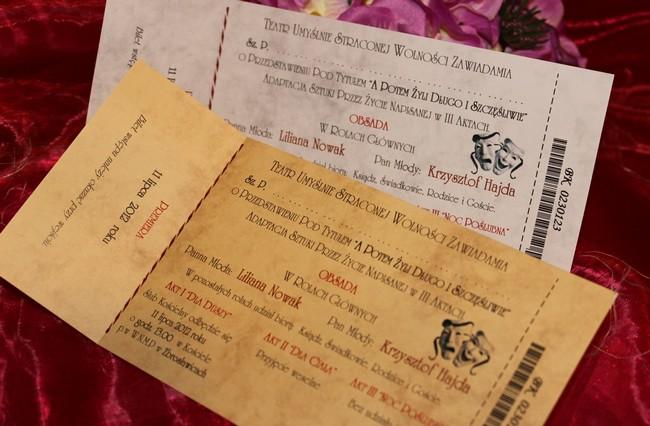 Zaproszenia Zawiadomienia ślubne W Formie Biletu Na ślub