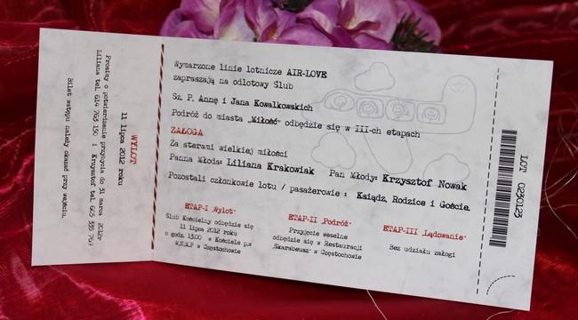 Zaproszenia ślubne W Formie Biletu Lotniczego Zaproszenia ślubne