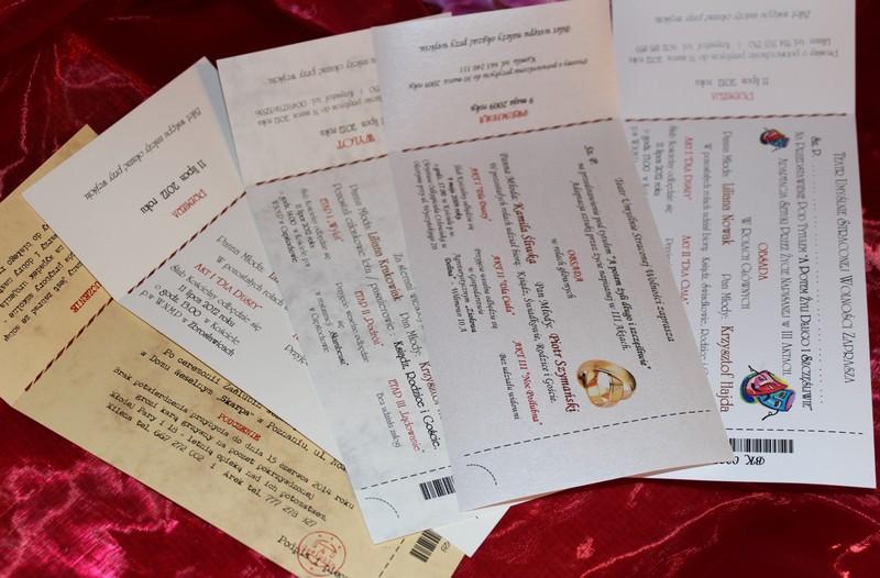 Zaproszenia ślubne Bilet Teatralny Telegram ślubny