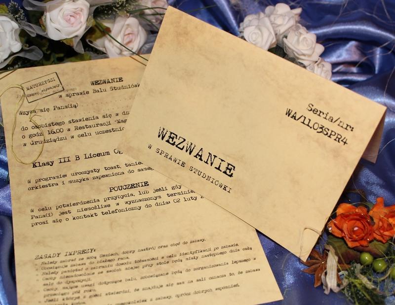 Zaproszenia ślubne Bal Gimnazjalny Na ślub Wesele